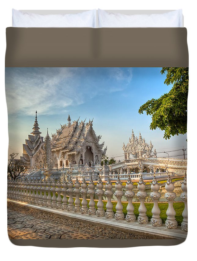 Hdr Duvet Cover featuring the photograph Rong Khun Temple by Adrian Evans