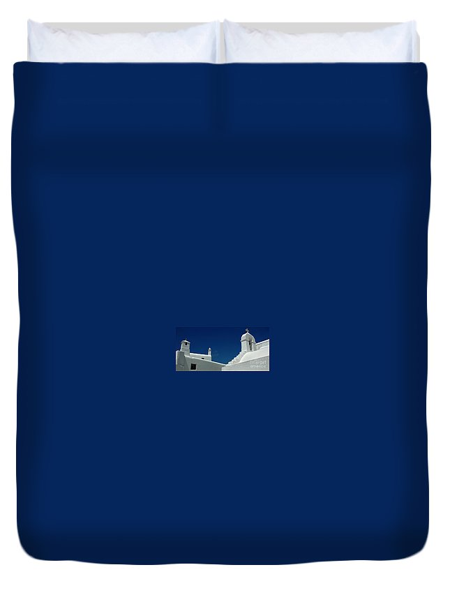 Mykonos Duvet Cover featuring the photograph Rooftops Of Mykonos by Vivian Christopher