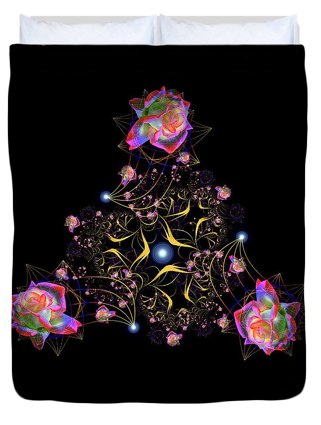 Abstracts Duvet Cover featuring the photograph Rose Fractal by Endre Balogh