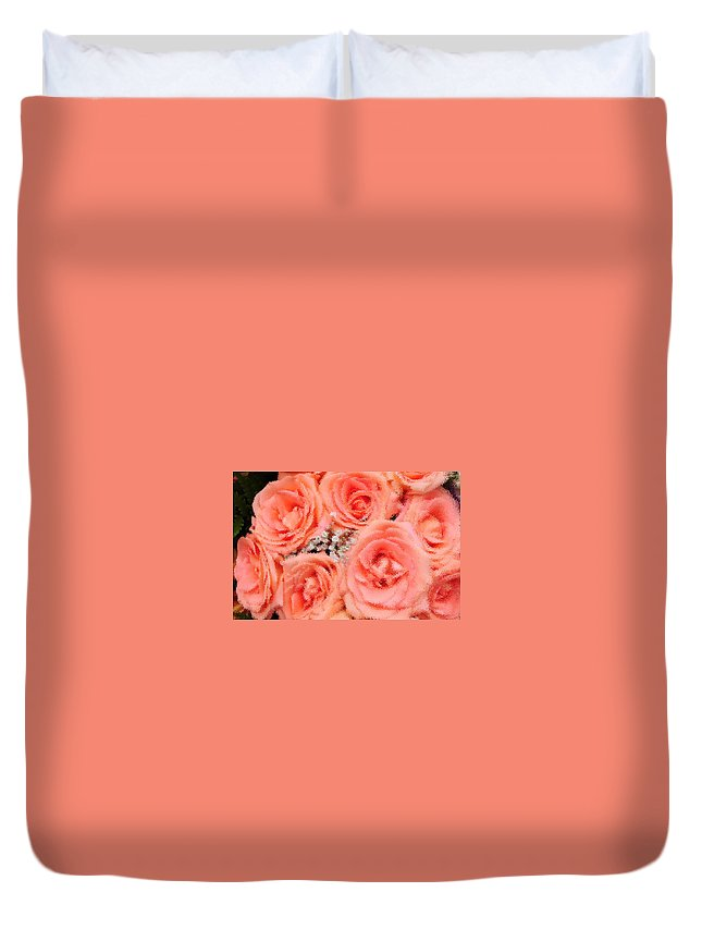 Bouquet- Roses-pink-beautiful- Weeding-aroma Duvet Cover featuring the photograph Roses Roses by Maria isabel Villamonte