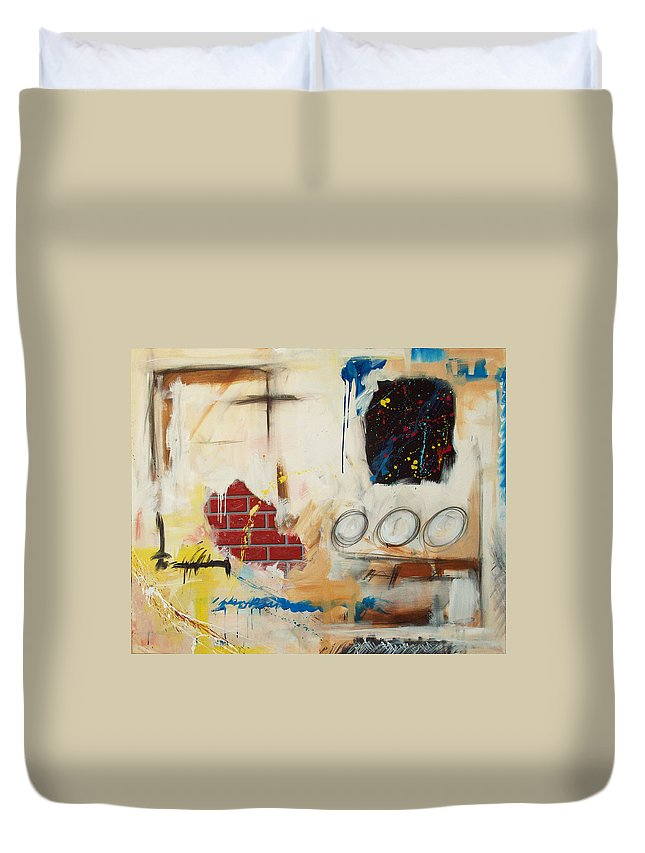 Abstract Duvet Cover featuring the painting Rough Rider by Snake Jagger