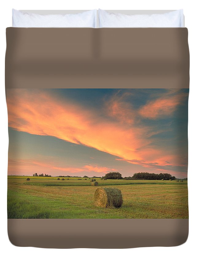 Light Duvet Cover featuring the photograph Round Hay Bales by Darwin Wiggett