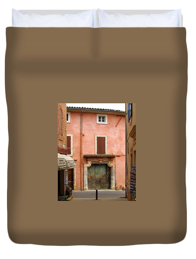 Garage Duvet Cover featuring the photograph Roussillon Painted Door by Carla Parris