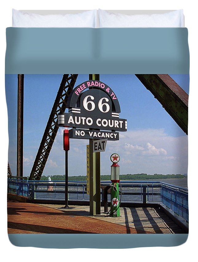 66 Duvet Cover featuring the photograph Route 66 - Chain Of Rocks Bridge And Gas Pump by Frank Romeo