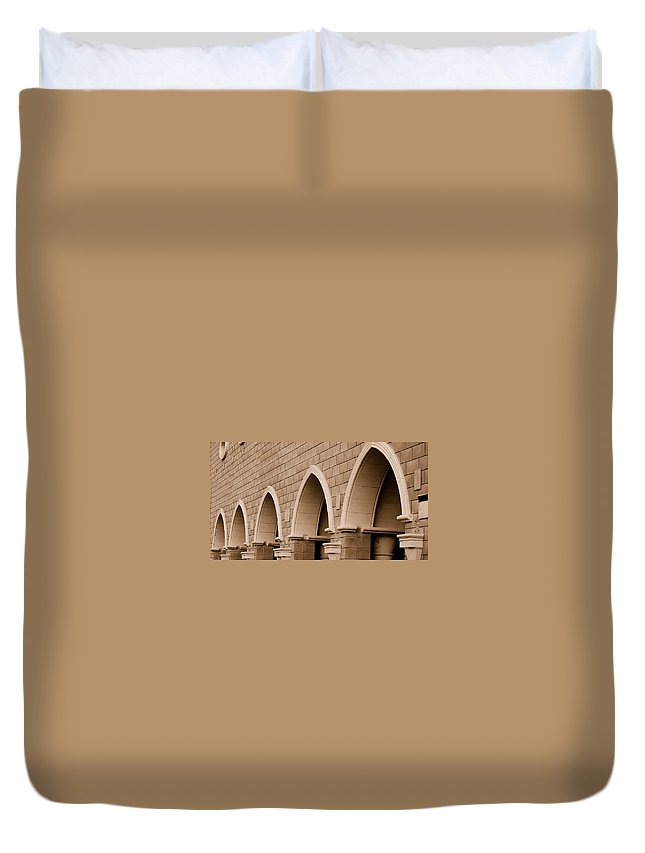 Row Arch Arches Archway Bricks Stone Tiles Monastery Vina Ca Duvet Cover featuring the photograph Row Of Arches by Holly Blunkall
