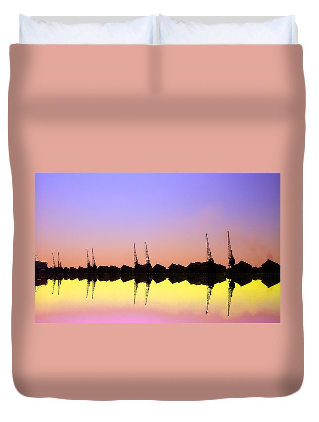 Skyline Duvet Cover featuring the photograph Royal Docks Cranes Art by David French