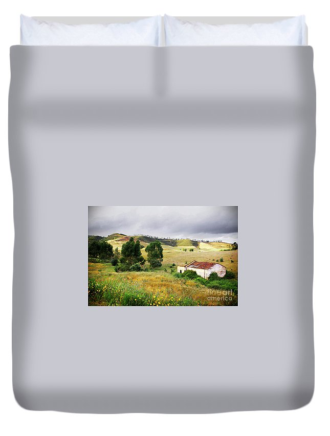 Calm Duvet Cover featuring the photograph Ruin In Countryside by Carlos Caetano