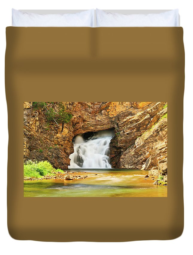 Glacier National Park Duvet Cover featuring the photograph Running Eagle Falls by Greg Norrell