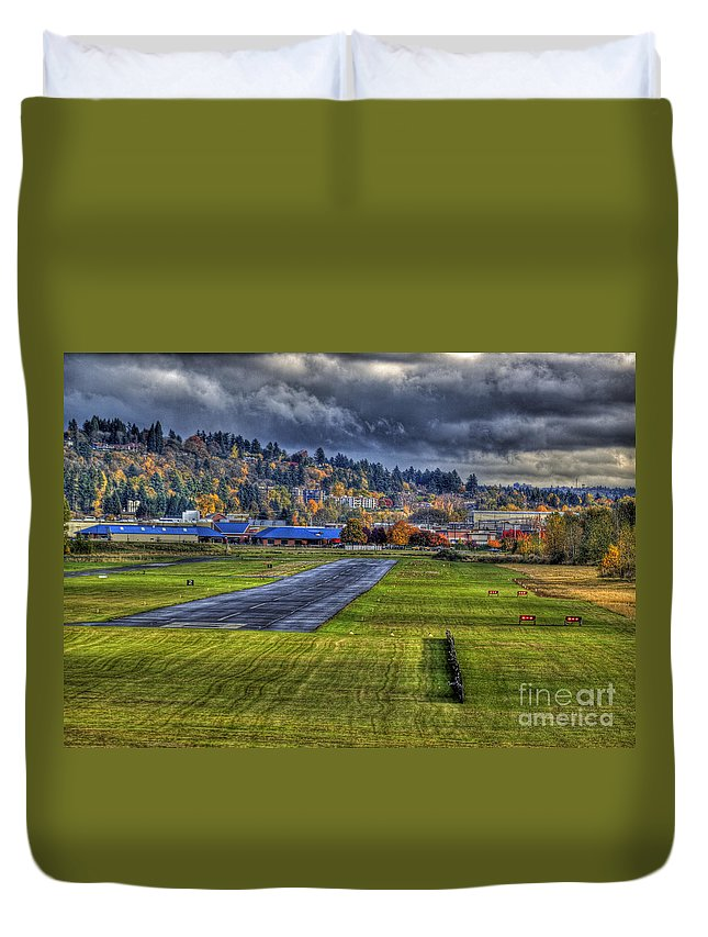 Pearson Field Duvet Cover featuring the photograph Runway 8 Pearson Feild by Merrill Beck