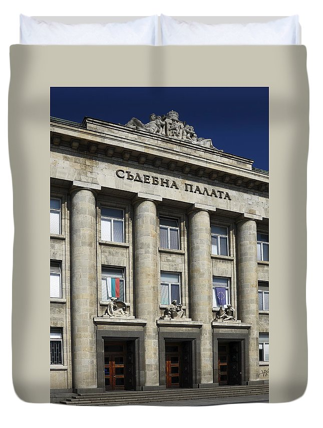 Courthouse Duvet Cover featuring the photograph Ruse Bulgaria Courthouse by Sally Weigand
