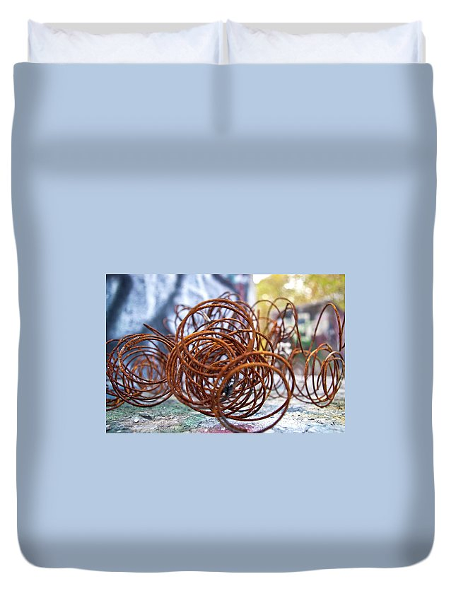 Rust Duvet Cover featuring the photograph Rusted Spring 1 by Maglioli Studios
