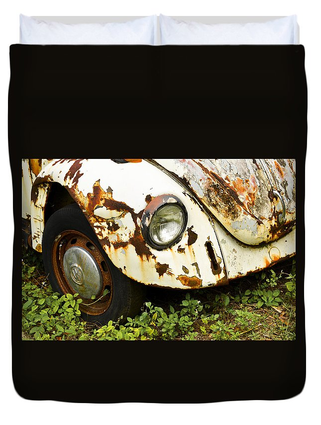 Antique Duvet Cover featuring the photograph Rusted Volkswagen by Carolyn Marshall