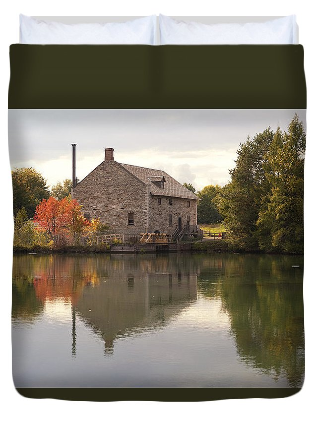 Mill House Reflection Fall Autumn Tree Trees Orange Water River Stream Mirror Morrisburg upper Canada Village Flour flour Mill Duvet Cover featuring the photograph Rustic Reflections by Eunice Gibb