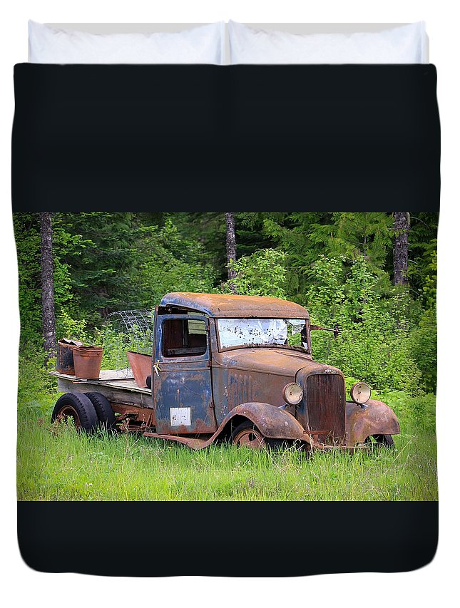 Abandoned Truck Duvet Cover featuring the photograph Rusty Chevy by Steve McKinzie
