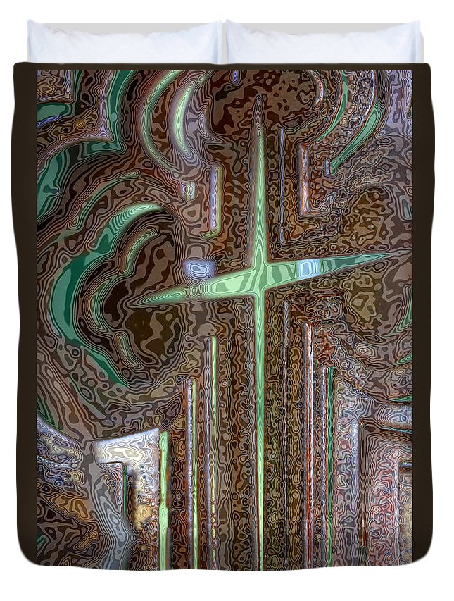 Rusty Duvet Cover featuring the photograph Rusty Cross by Diana Haronis