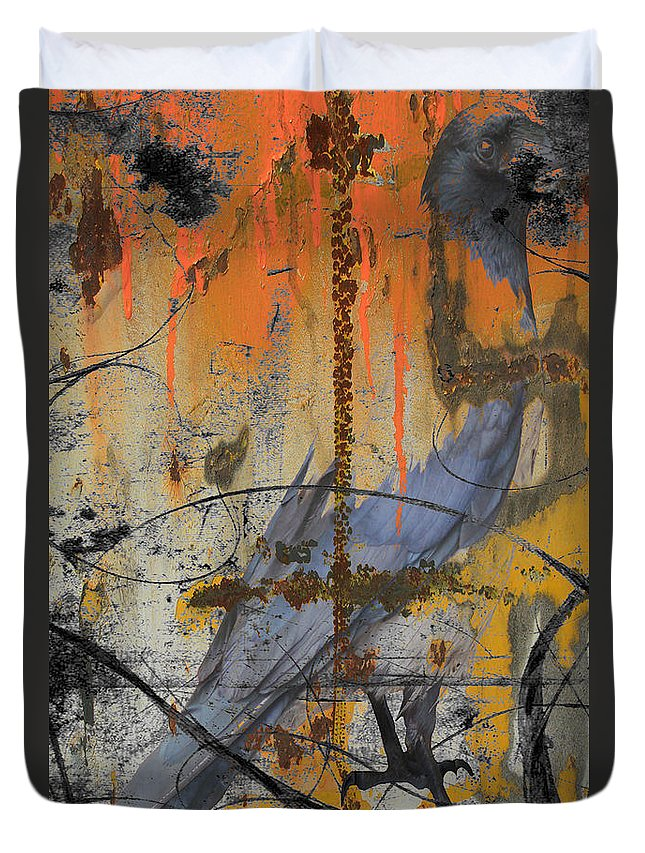Abstract Duvet Cover featuring the photograph Rusty Crow by The Artist Project