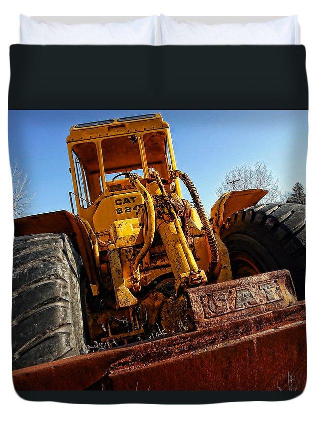 Caterpillar Duvet Cover featuring the photograph Rusty Gold Cat 824 by Gordon Dean II