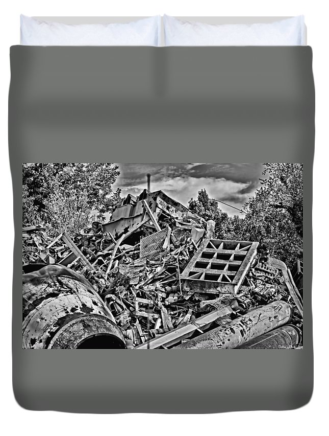 Metal Duvet Cover featuring the photograph Rusty Metal Stuff IIi by Debbie Portwood