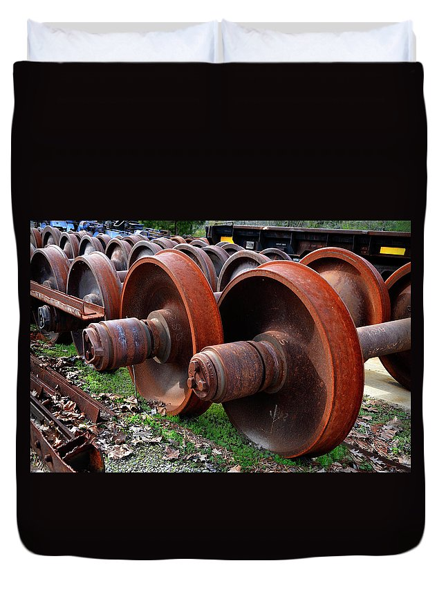 Rust Duvet Cover featuring the photograph Rusty Wheels by Paul Mashburn