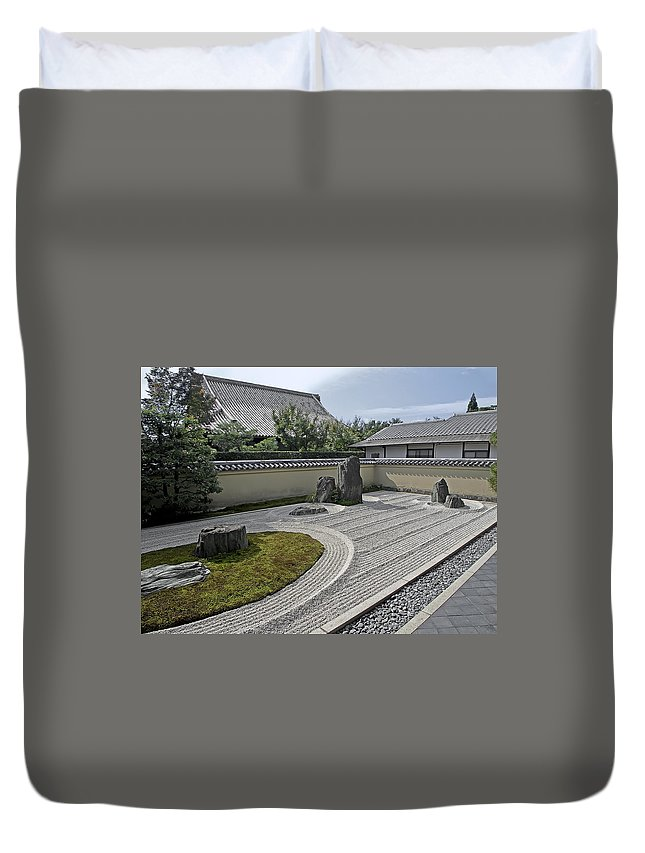 Zen Duvet Cover featuring the photograph Ryogen-in Temple Garden - Kyoto Japan by Daniel Hagerman