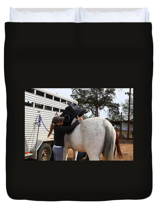 Roena King Duvet Cover featuring the photograph Saddling Up by Roena King
