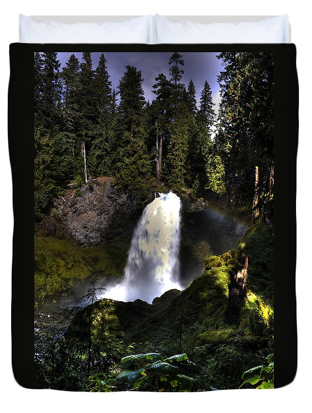 Sahalie Falls Duvet Cover featuring the photograph Sahalie Falls by Merrill Beck