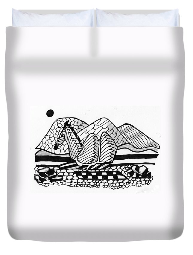 Camel Duvet Cover featuring the drawing Sahara by Susan Kubes