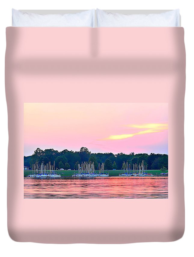Pink Sunset Duvet Cover featuring the photograph Sail Boats Pretty In Pink by Randall Branham