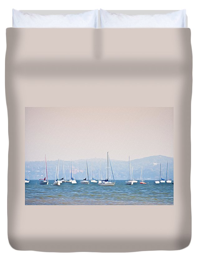 Sailboats On The Hudson - Nyack New York Duvet Cover featuring the photograph Sailboats On The Hudson - Nyack New York by Bill Cannon