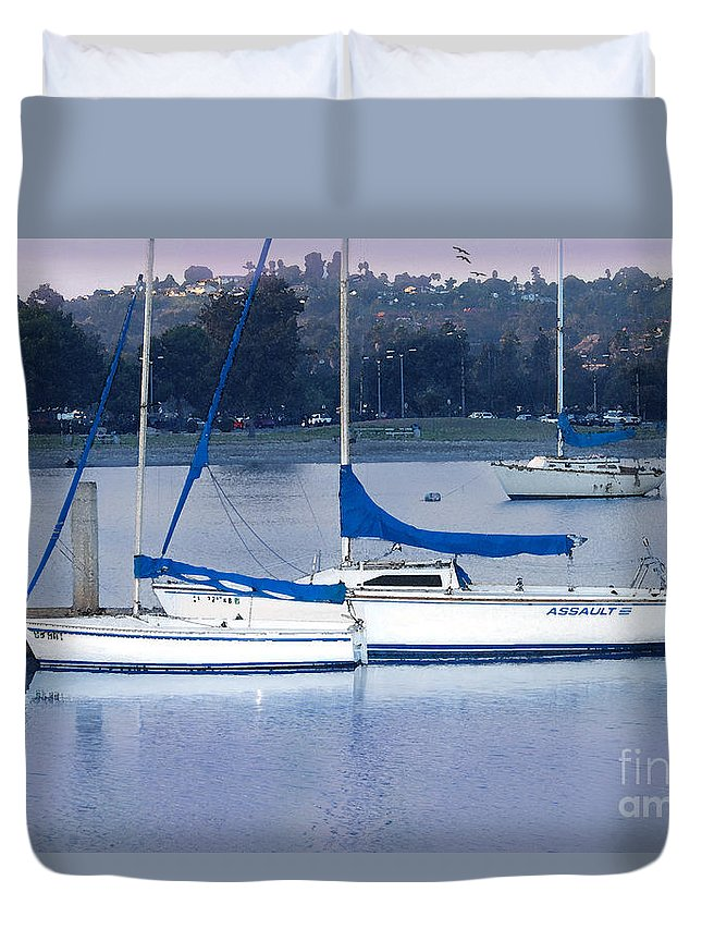 Sailboat Duvet Cover featuring the photograph Sailboats San Diego by Betty LaRue