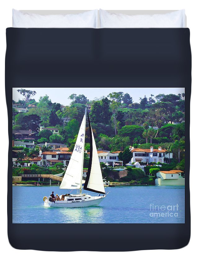 Sailboat Duvet Cover featuring the digital art Sailing Home by L J Oakes