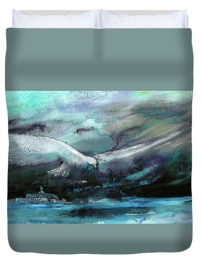 Animals Duvet Cover featuring the painting Sailing Over The Sea by Miki De Goodaboom