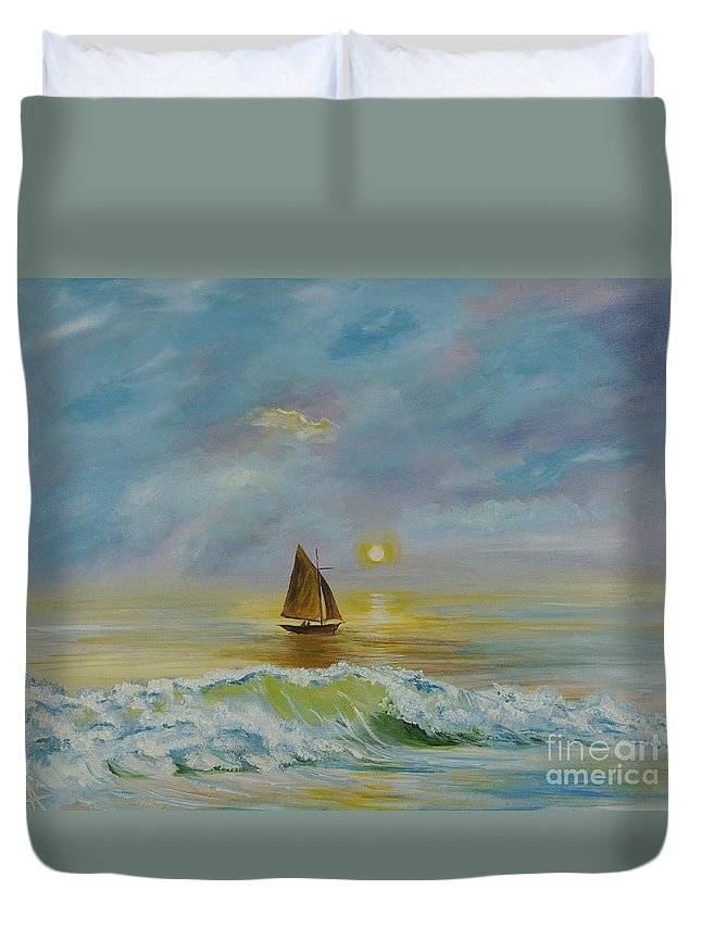 Sailboat Duvet Cover featuring the painting Sailing The Ocean Blue by Leslie Allen