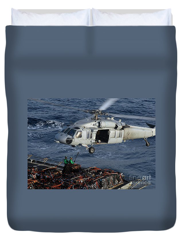 Adults Only Duvet Cover featuring the photograph Sailors Attach Pallets Of Supplies by Stocktrek Images