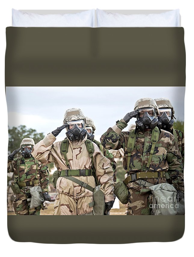 Mask Duvet Cover featuring the photograph Sailors Dressed In Full Mission by Stocktrek Images
