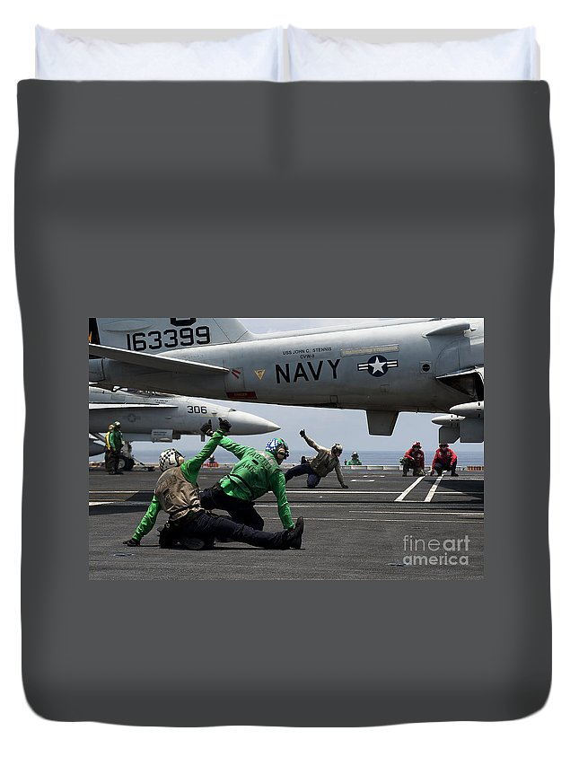 Uss John C Stennis Duvet Cover featuring the photograph Sailors Give Launch Approval For An by Stocktrek Images