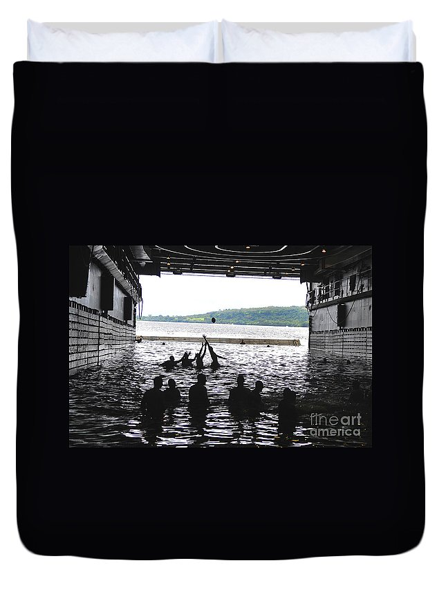 Football Duvet Cover featuring the photograph Sailors Play Football During A Swim by Stocktrek Images