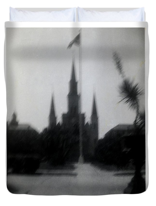 Louisiana Duvet Cover featuring the photograph Saint Louis Cathedral October 1963 by Doug Duffey