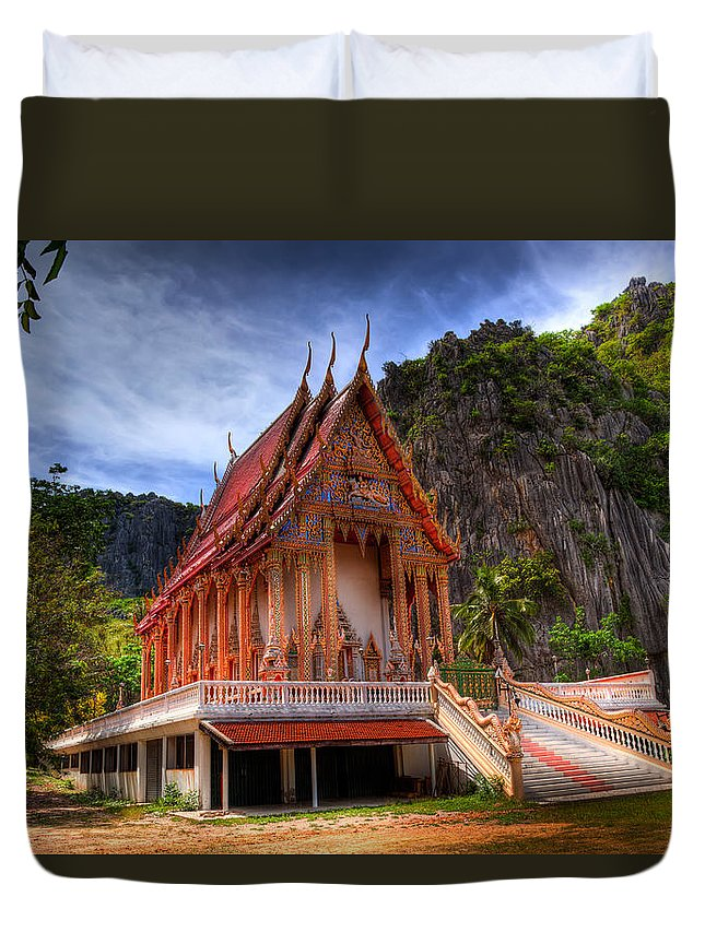 Temple Duvet Cover featuring the photograph Sam Roi Yot Temple by Adrian Evans