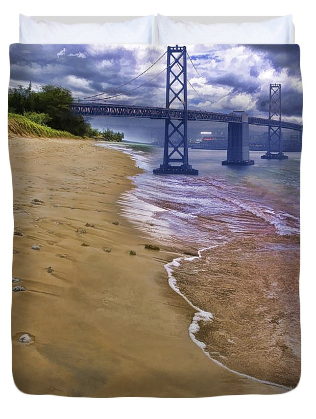 Art Photography Duvet Cover featuring the photograph San Francisco Bay Bridge And Beach by Blake Richards