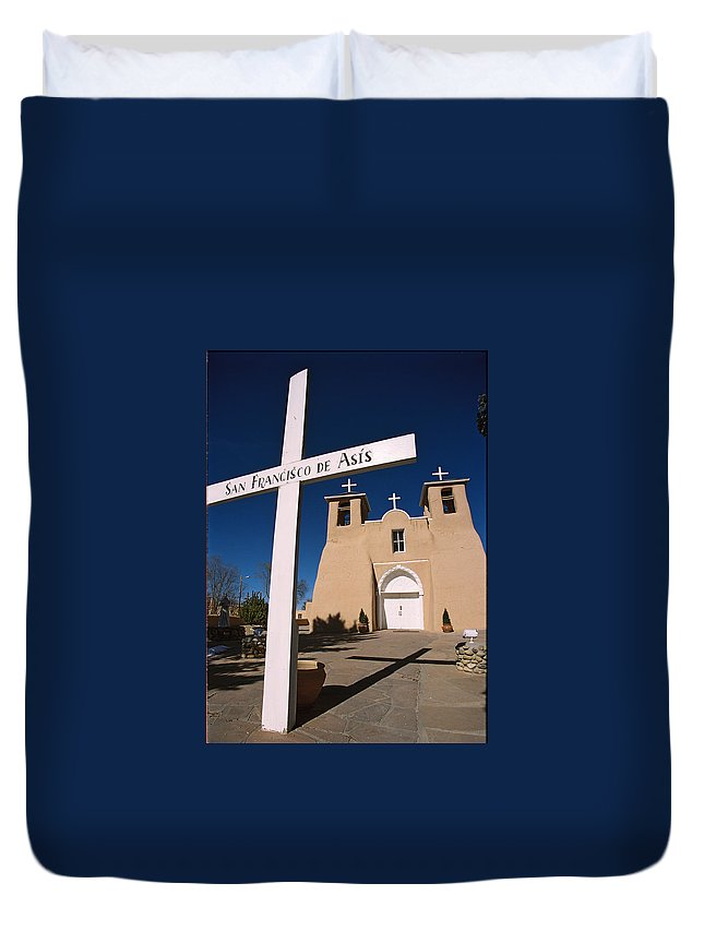 Taos Duvet Cover featuring the photograph San Francisco De Asis by Ron Weathers