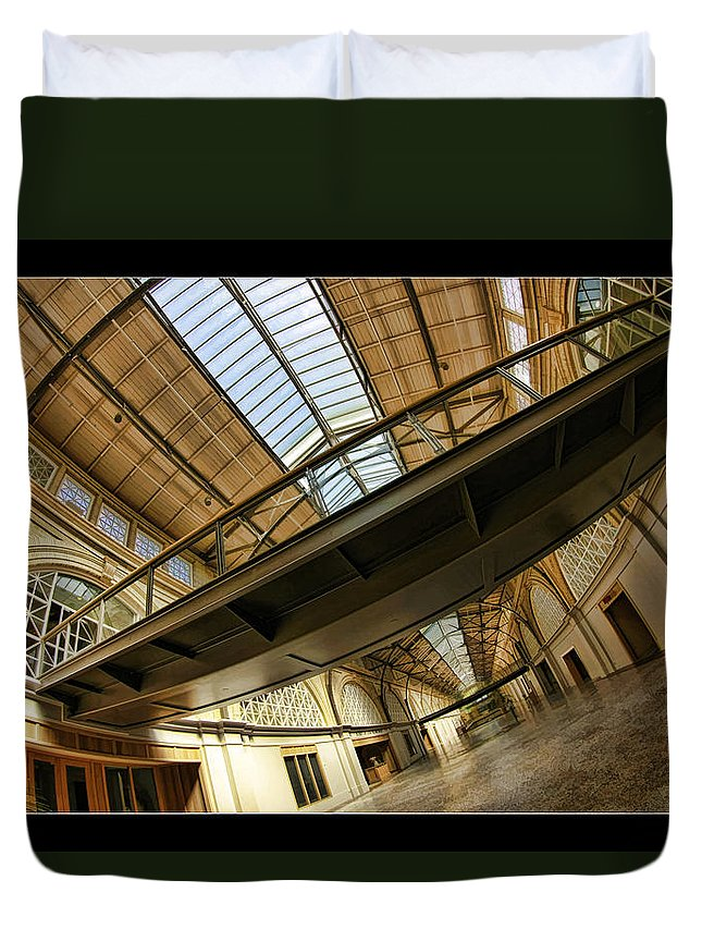 Ferry Building Duvet Cover featuring the photograph San Francisco Ferry Building Walkway by Blake Richards