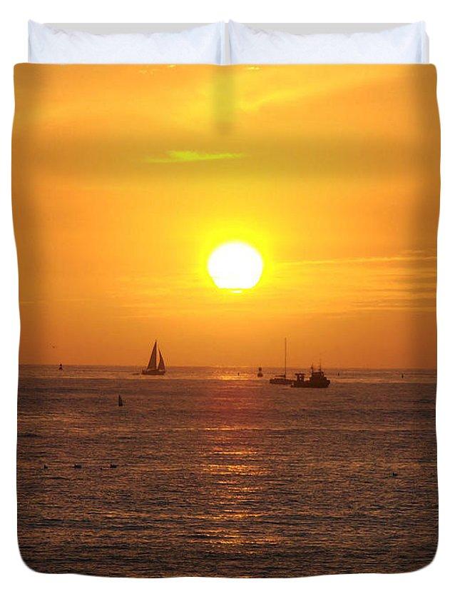 San Juan Capistrano Beach Sunset Duvet Cover featuring the photograph San Juan Capistrano Beach Sunset by Bill Cannon