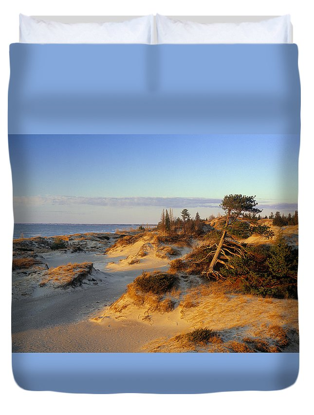 Light Duvet Cover featuring the photograph Sand Dunes At Sunset, Lake Huron by Darwin Wiggett