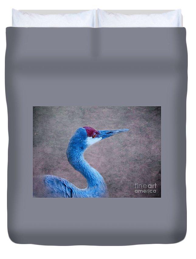 Sandhill Crane Duvet Cover featuring the photograph Sandhill Crane 3 by Betty LaRue