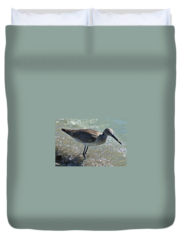 Sandpiper Duvet Cover featuring the photograph Sandpiper I by Joe Faherty