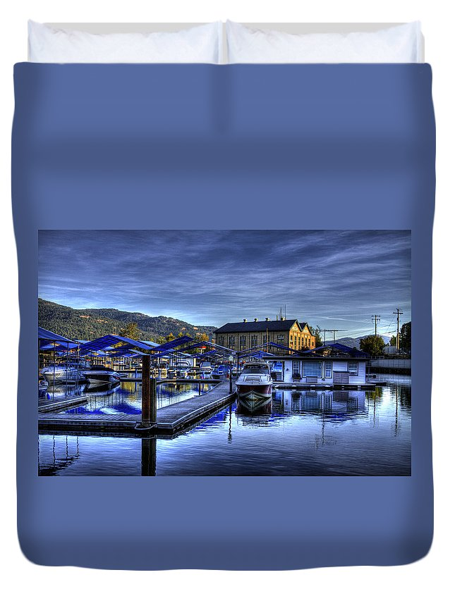 Sandpoint Idaho. Landscape Duvet Cover featuring the photograph Sandpoint Marina And Power House by Lee Santa