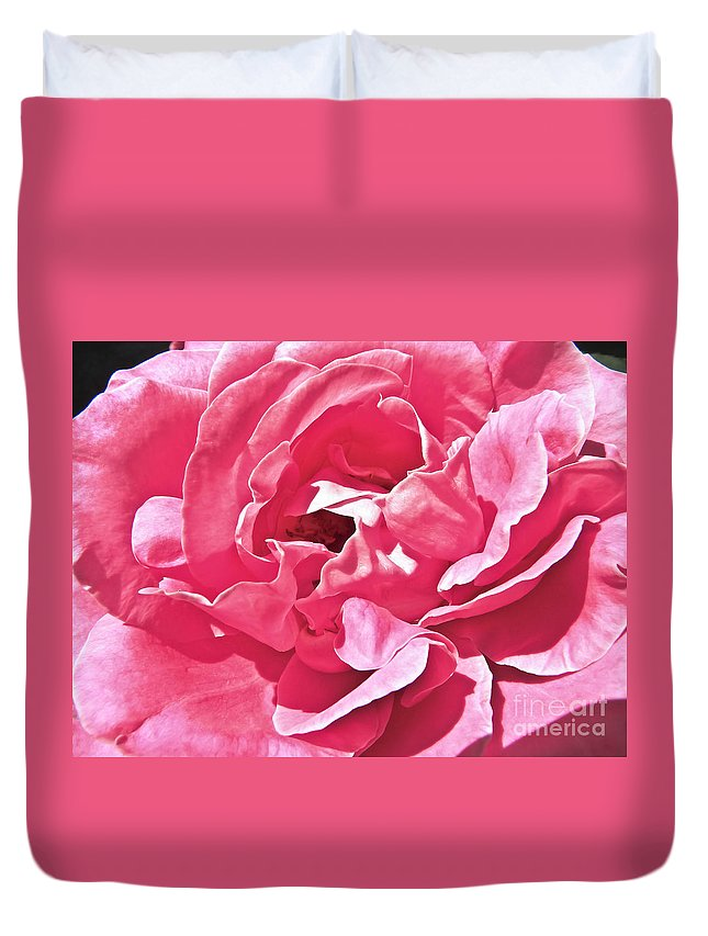Duvet Cover featuring the photograph Sandys Pink Rose Frills by Tisha Clinkenbeard
