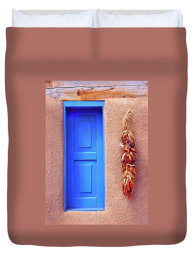 Santa Fe Duvet Cover featuring the photograph Santa Fe Window by Dave Mills