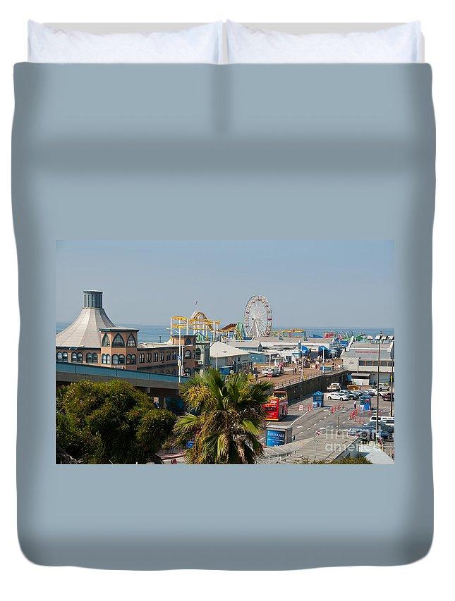 California Duvet Cover featuring the digital art Santa Monica Pier by Carol Ailles